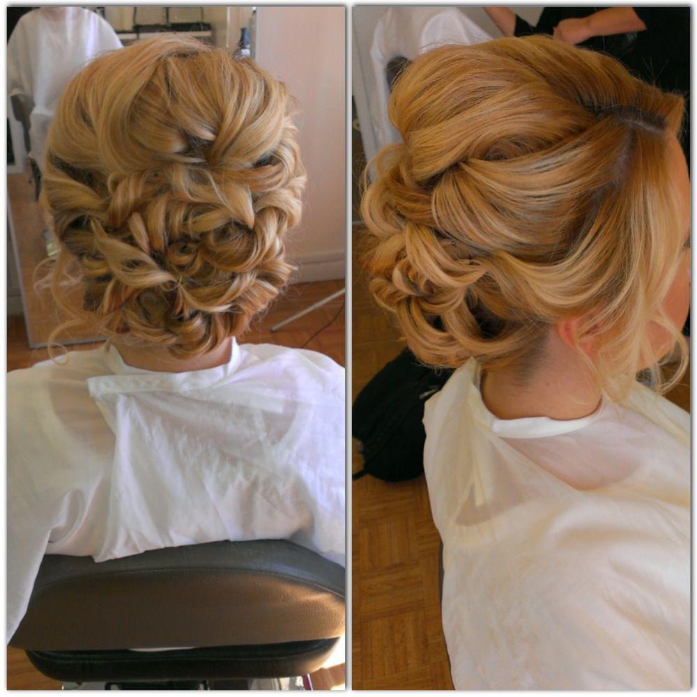 Wedding hair, bridal hair, curls, curly bun, updo, messy updo, blonde curls, beautybyverlin