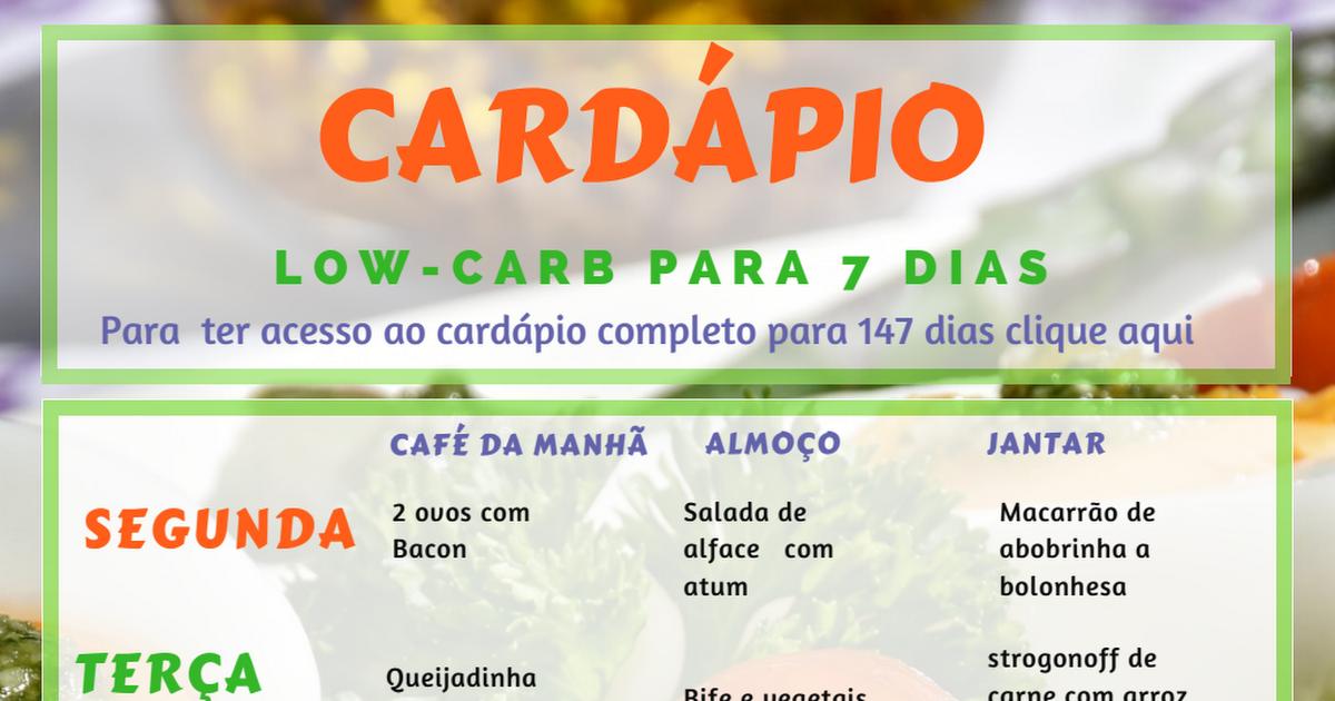 Ketogene Diät Cardapio Senhor Tanquinho