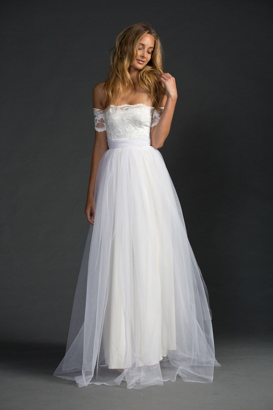 Boho lace wedding dress magical soft dreamy skirt with strapless