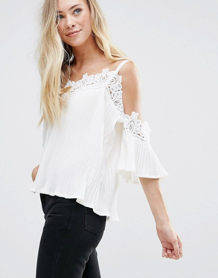 932ef692cc252 QED London Lace Neck Cold Shoulder Angel Sleeve Top - Cream ...
