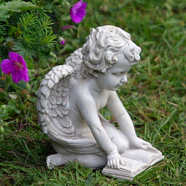 Small Cherub Reading Book Garden Ornament Statues Made In Polystone And Guaranteed Frost Proof Height 14cm Free Delivery