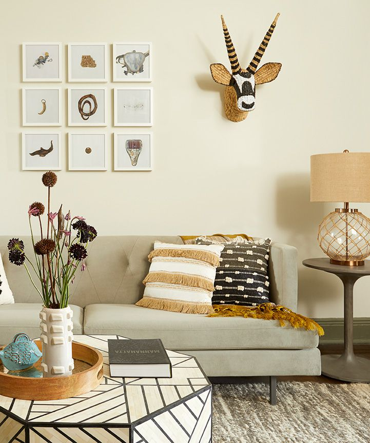 Budget Living Room Design Inspiration: Neutral Living Room Decor With Layered Textiles And Boho