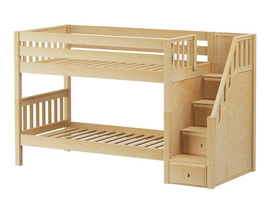 Maxtrix stacker low bunk bed with stairs matrix kids for Wooden bunkbeds