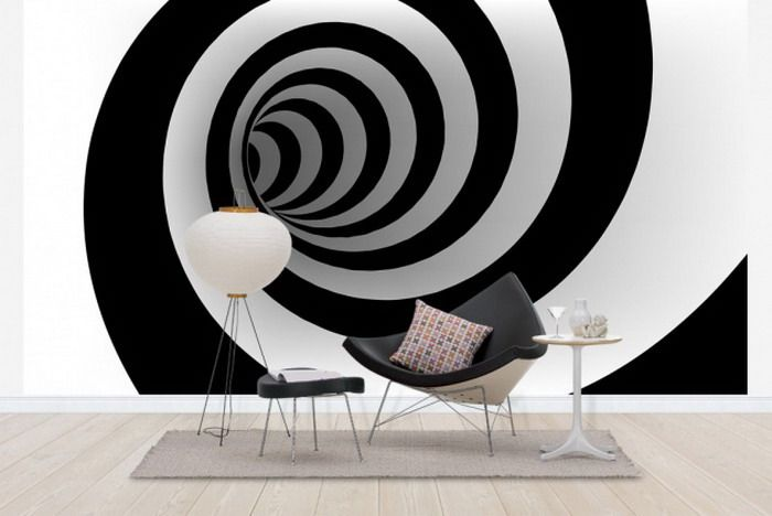 Living Room Design with 3D Wall Mural