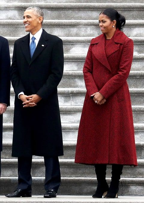 Michelle Inauguration 2017 Wearing A Textured Oxblood Coat With Statement Collar She Finished