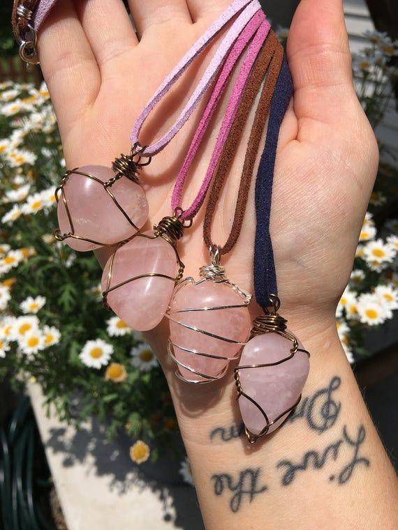 Rose Quartz Crystal Necklace, Rose Quartz Necklace, Rose Quartz Necklace Silver, Rose Quartz Necklac #quartznecklace