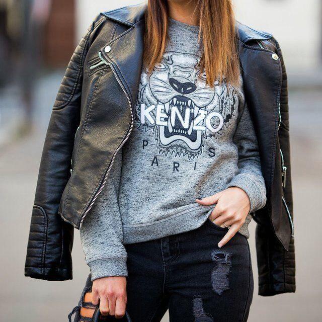 Grey Melange Embroidered Tiger Sweater - Kenzo