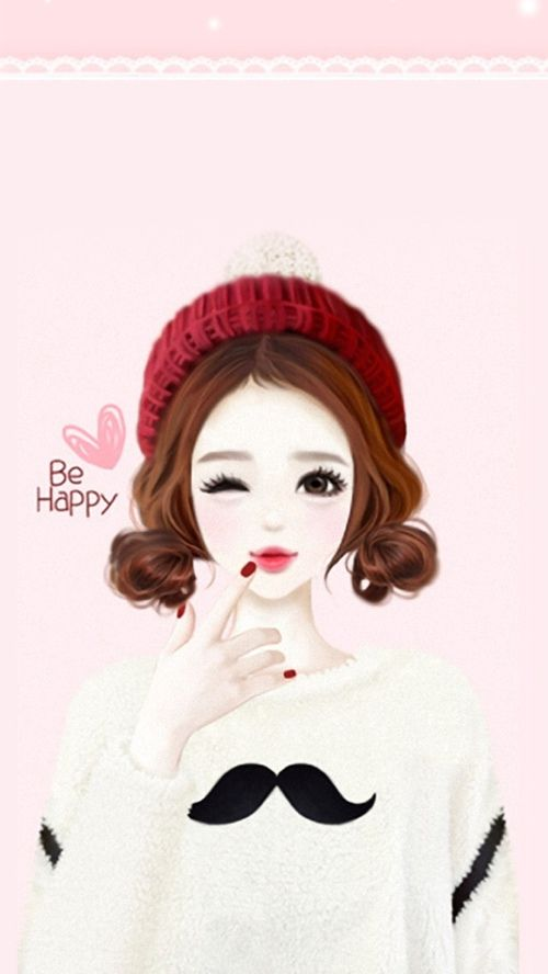 Girl Happy And Heart Image Iphone Wallpaper Girly Girl Cartoon Cute Girl Wallpaper