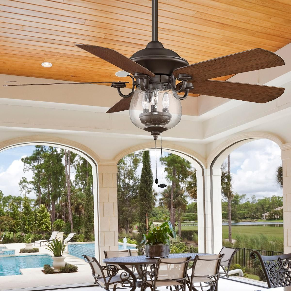 Best Ceiling Fan For Large Great Room: Indoor/ Outdoor Cloche Glass Ceiling Fan