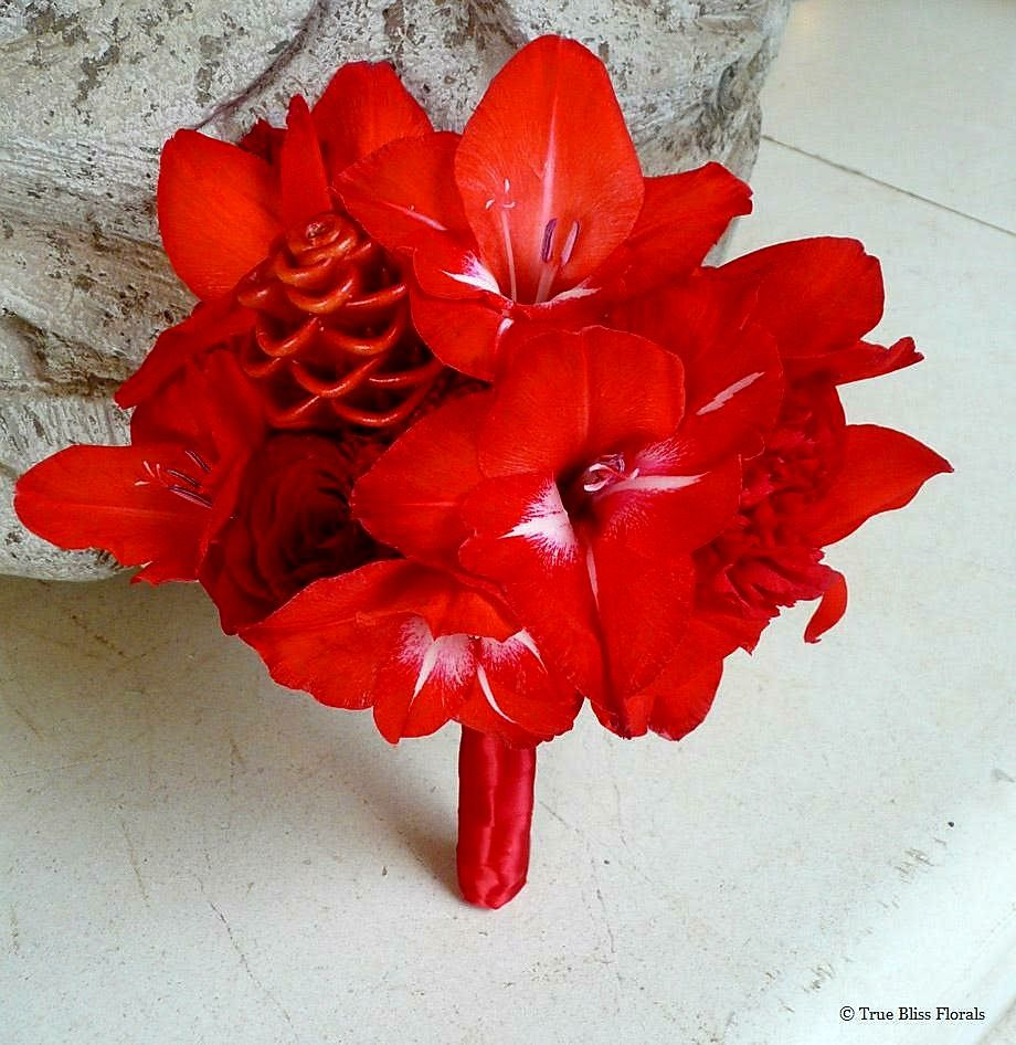 "Tropical ""All Red"" Wedding Bouquet"