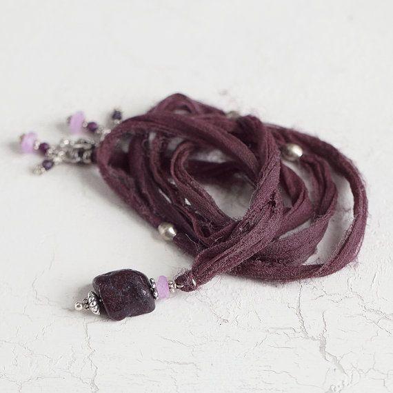 Long Frayed Silk Ribbon Necklace with Stone от ArtiqueBoutiqueShop