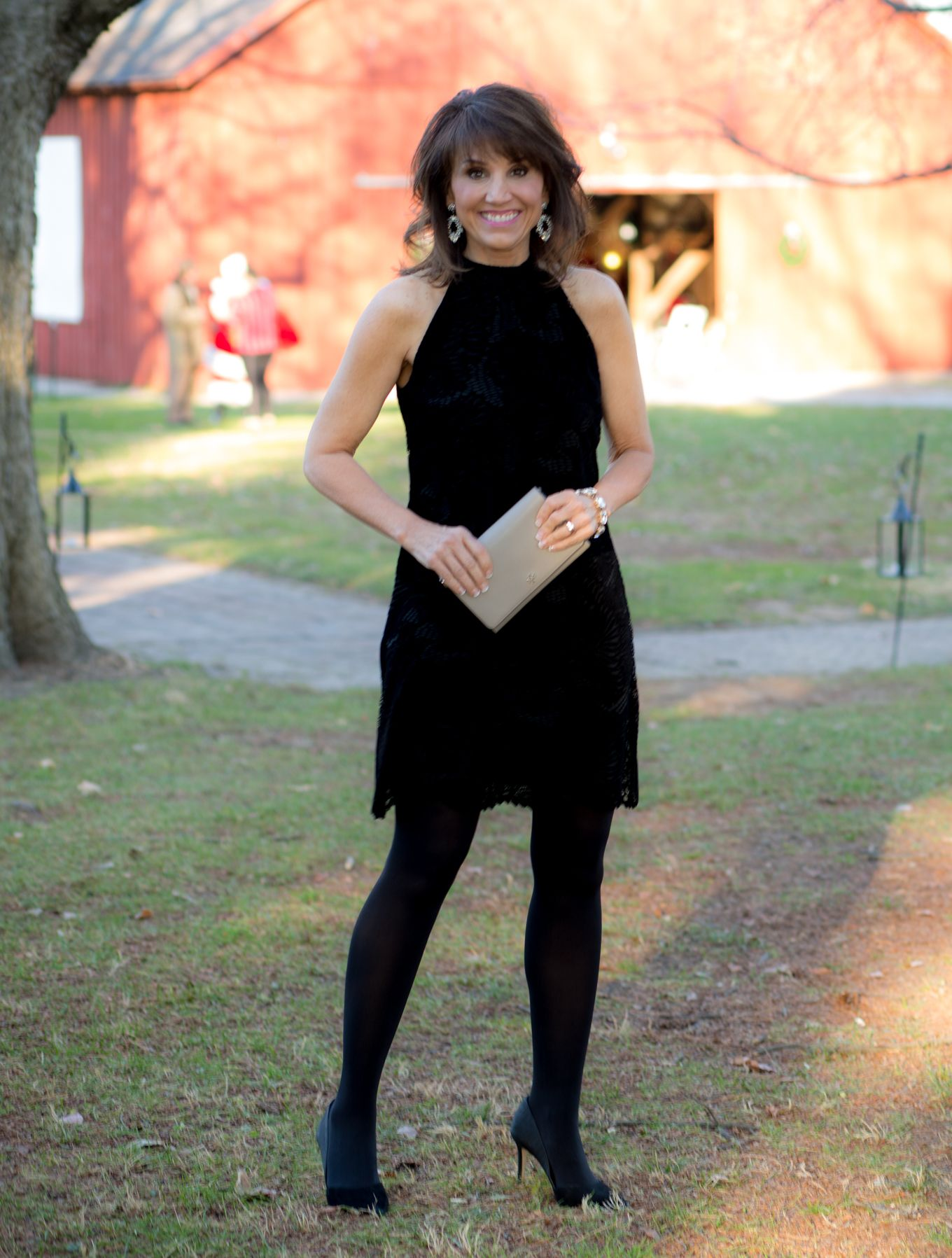 25 Days of Winter Fashion Black Lace Dress for New Year's