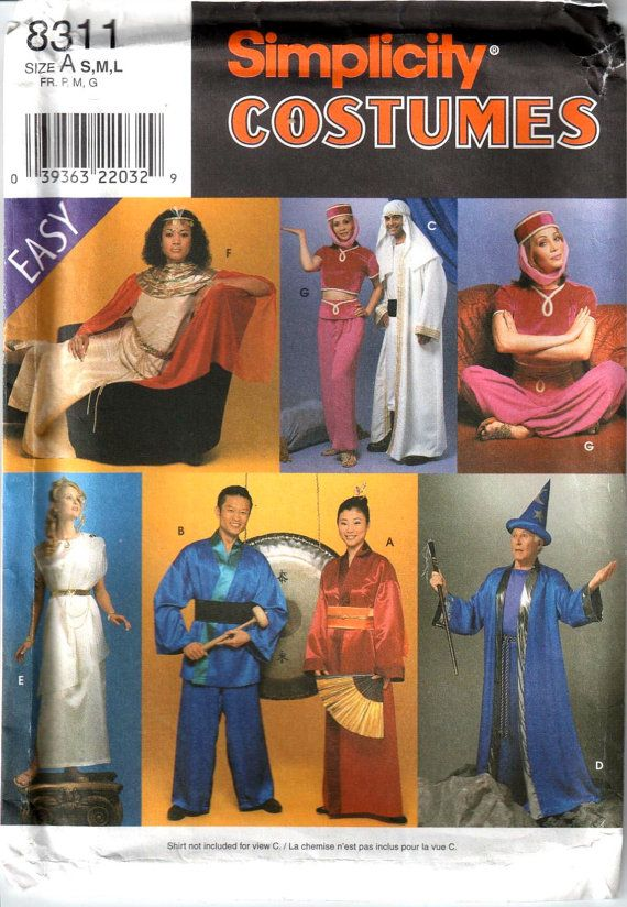 Simplicity 8311 Mens and Misses Easy Adults Costume Sewing Pattern ...