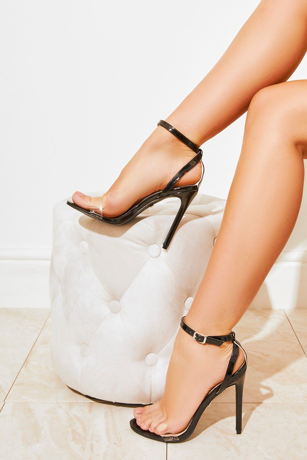 949d16c5abe Athena Black Clear Strap Barely There Heels in 2019 | Shoes | Heels ...