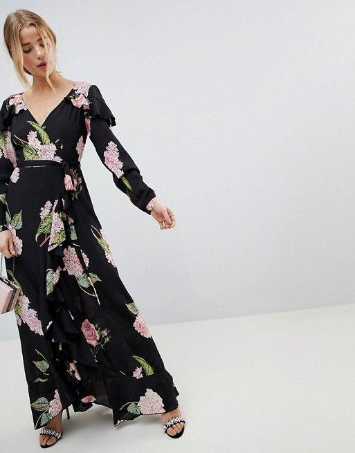 Grazioso vestito lungo a portafoglio a fiori con volant  24465f346ec