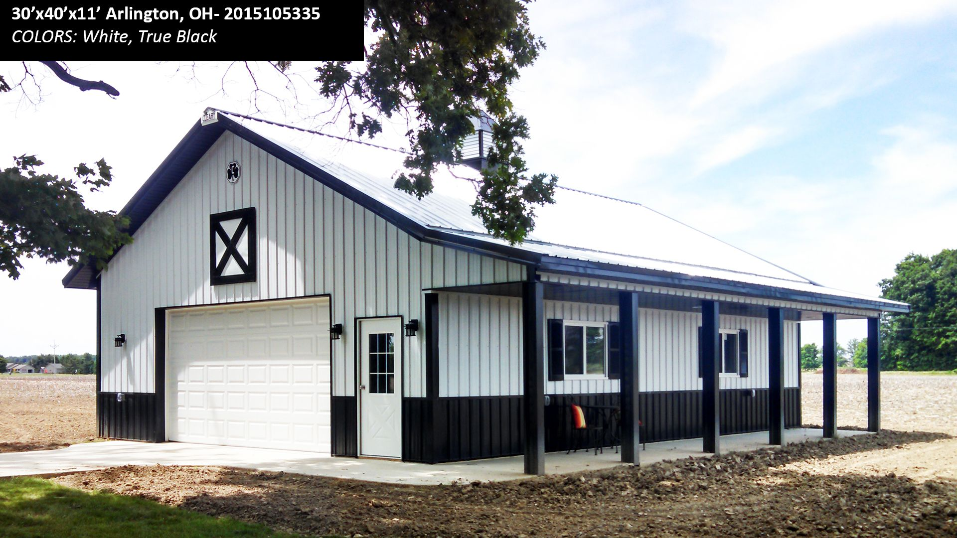 30 X40 X11 Cleary Suburban Building In Arlington Oh Colors White True Black Cleary Buildings Pole Buildings Pole Barn Homes