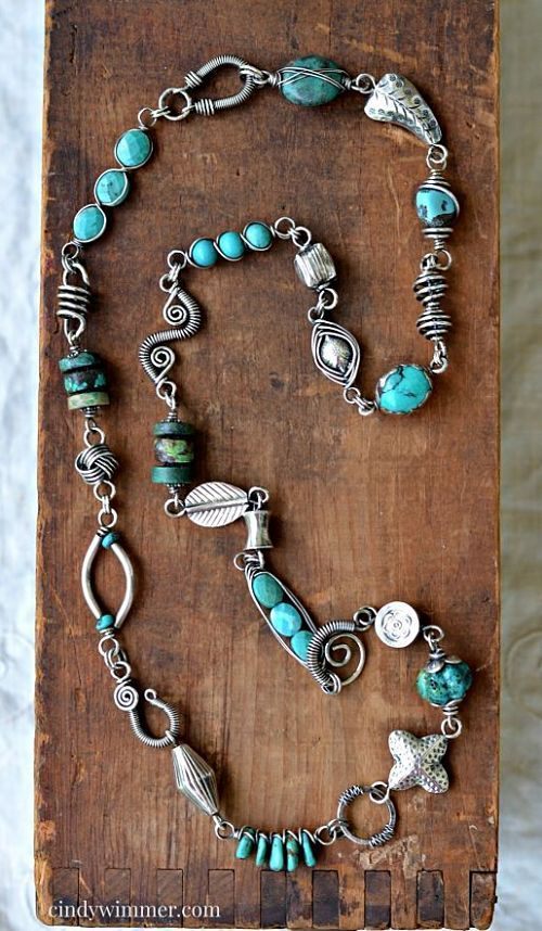 Handmade Turquoise And Sterling Silver Wire Link Necklace