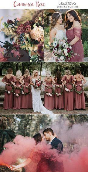 10 Trendy & Romantic Cinnamon Rose Bridesmaid Dresses and Wedding Ideas
