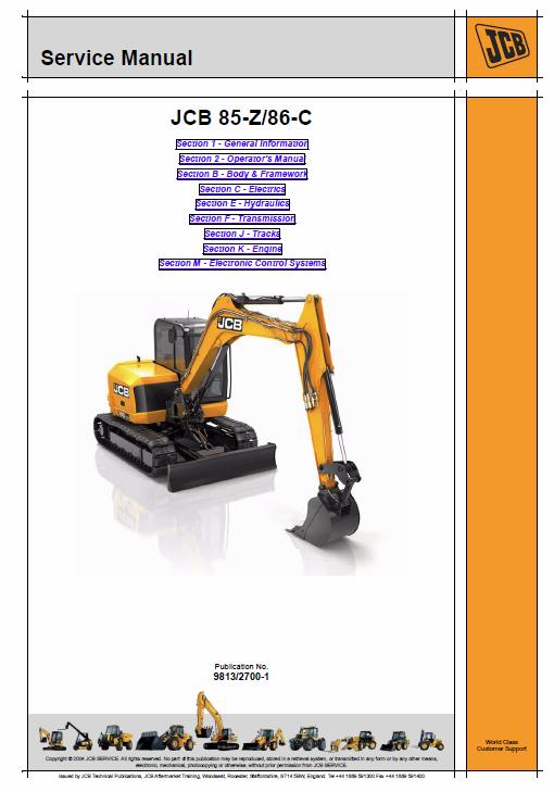 Jcb 85z 1 86c 1 90z 1 100c 1 Midi Excavator Service Manual Excavator Manual Midi