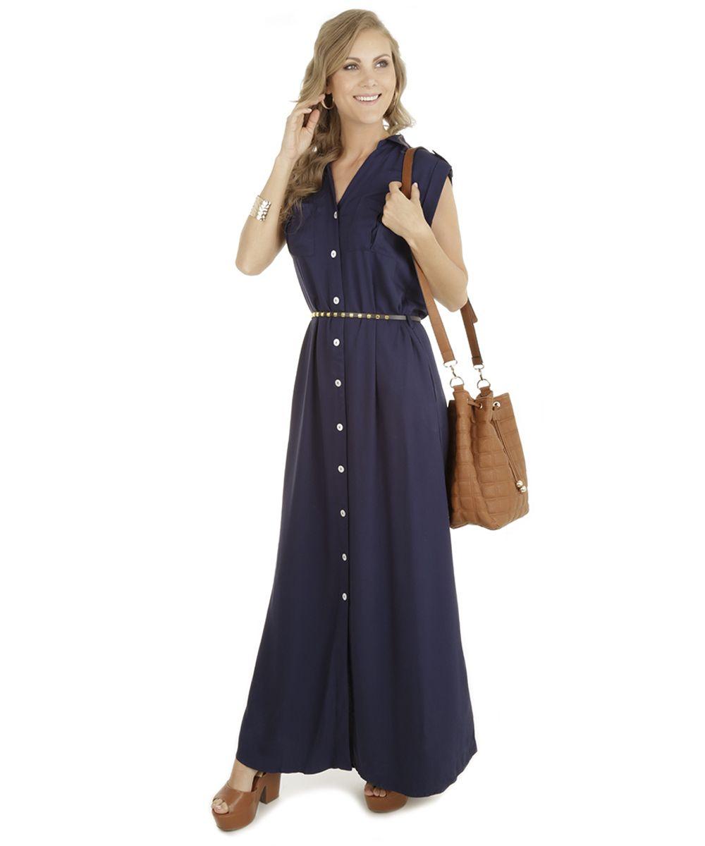 6a9238ee3b Vestido Longo com Cinto Azul Marinho - cea