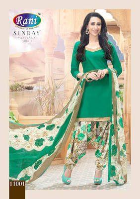 a5b290a186 Bollywood Karishma Kapoor Beautiful Green Cotton Semi Stitched Patiyala Suit  (2056) Patiala Salwar Suit