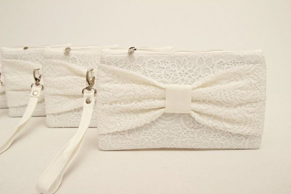 Big sale  White lace bow wristlet bridal by MagicalBag on Etsy