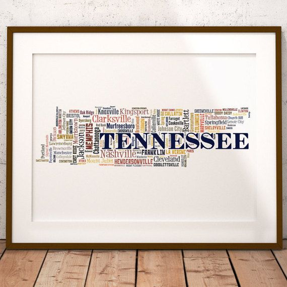 Tennessee Map Art Tennessee Art Print Tennessee City Map - Map of tennessee with cities