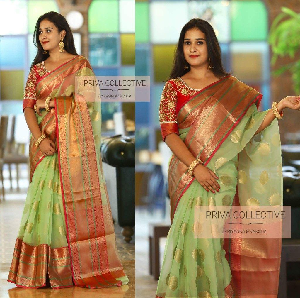a8712c2561 Kanchi border organza saree with rich border and pallu with running blouse
