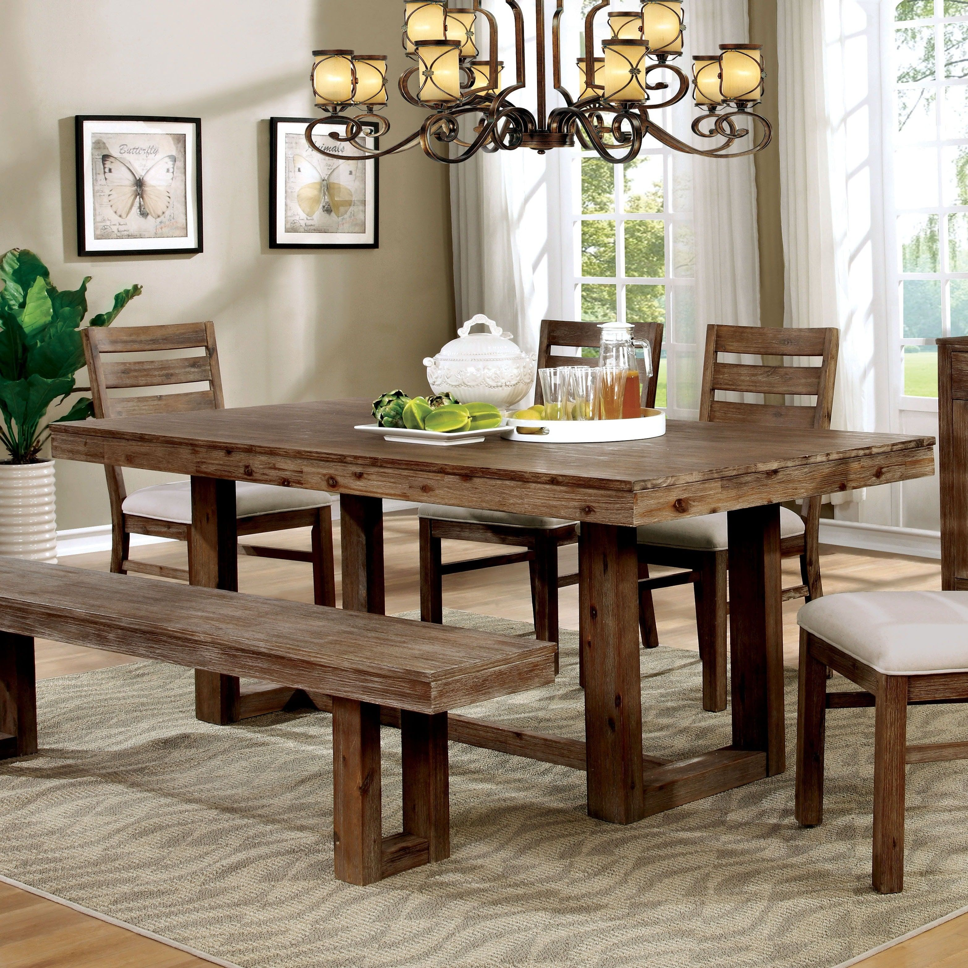 Furniture Of America Treville Country Farmhouse Natural Tone Plank Delectable Plank Dining Room Table Design Decoration