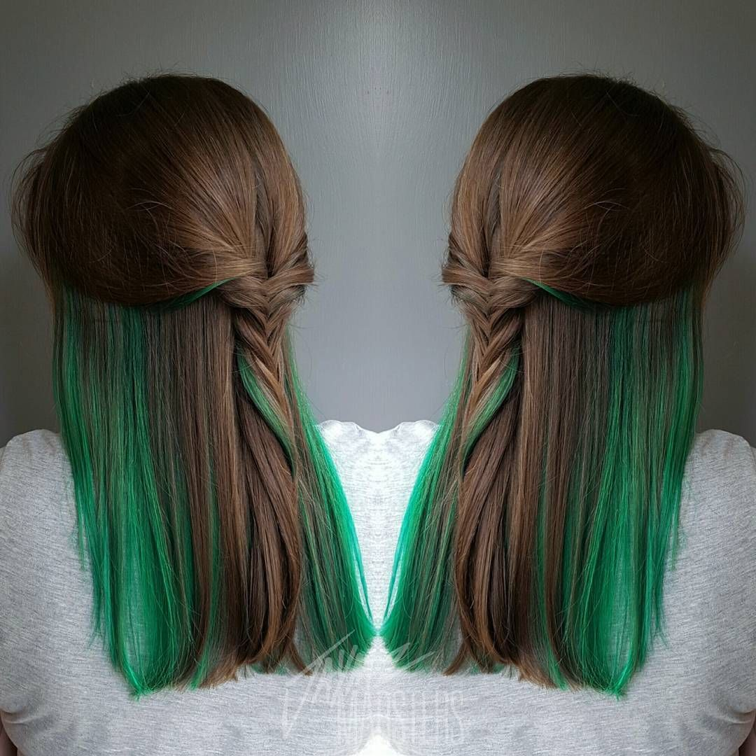 20 Ways To Rock Green Hair Pinterest Peekaboo Highlights Green