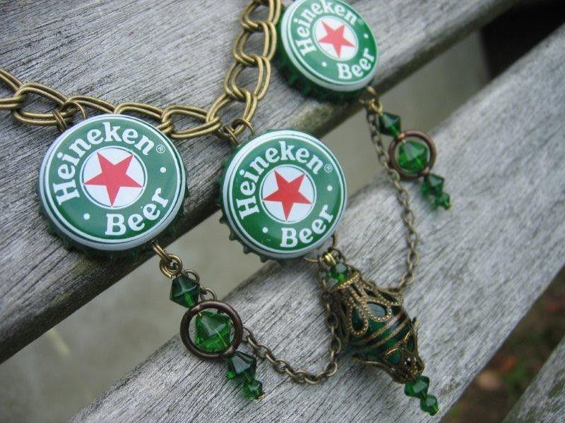 Heineken beer bottle cap necklace bottle cap necklace for Beer cap jewelry