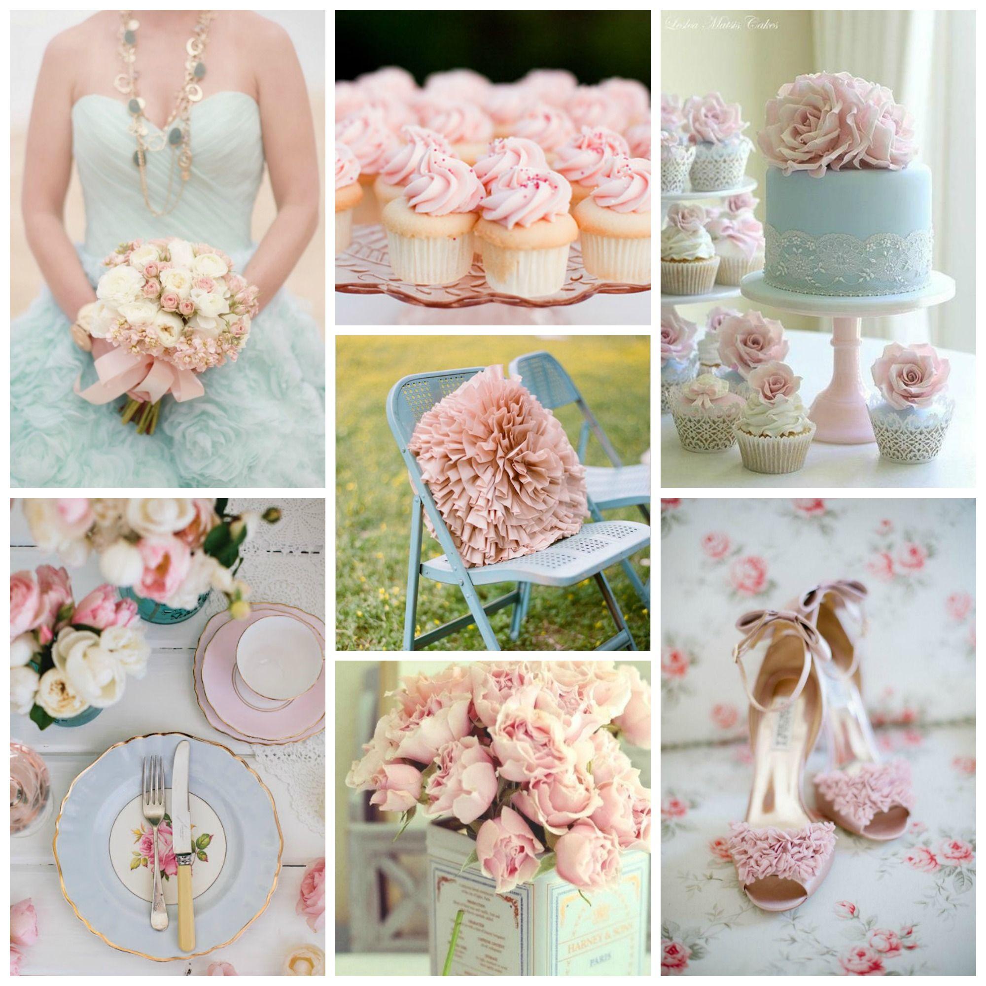 Color Palette Idea Pale Pink Blue Burgh Brides