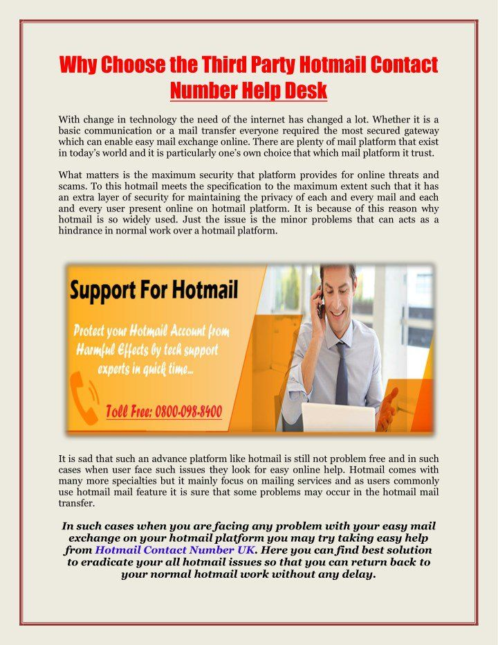 Why Choose The Third Party Hotmail Contact Number Help Desk You Are Facing Any Problem With