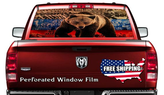 Truck SUV American Flag Wave Rear Window Graphic Decal Perforated Vinyl Wrap