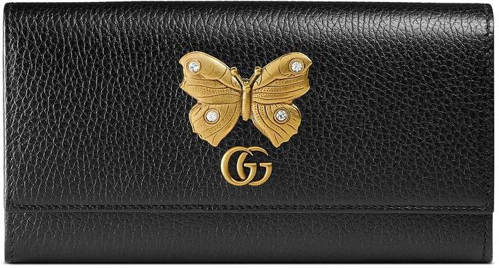 432034473a4f Women's Gucci Farfalla Leather Continental Wallet - Black in 2019 ...