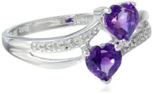 White Gold Double Heart-Shaped Amethyst with Diamond Heart Ring (0.02 cttw, I-J Color, I1 Clarity)