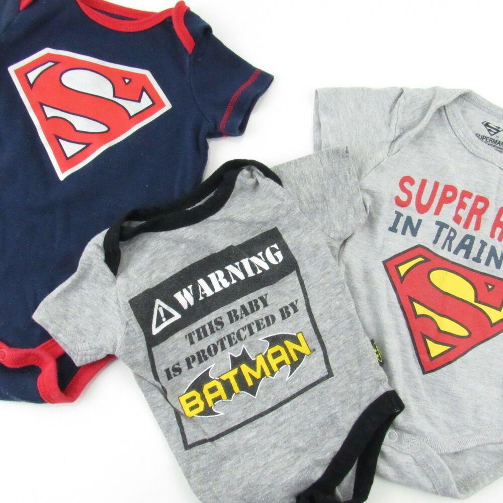 4877f1ef5 Superman Batman Bodysuits 0-3 Months Baby Boy Short Sleeve Gray Blue Lot of  3 #VariousBrands #Everyday