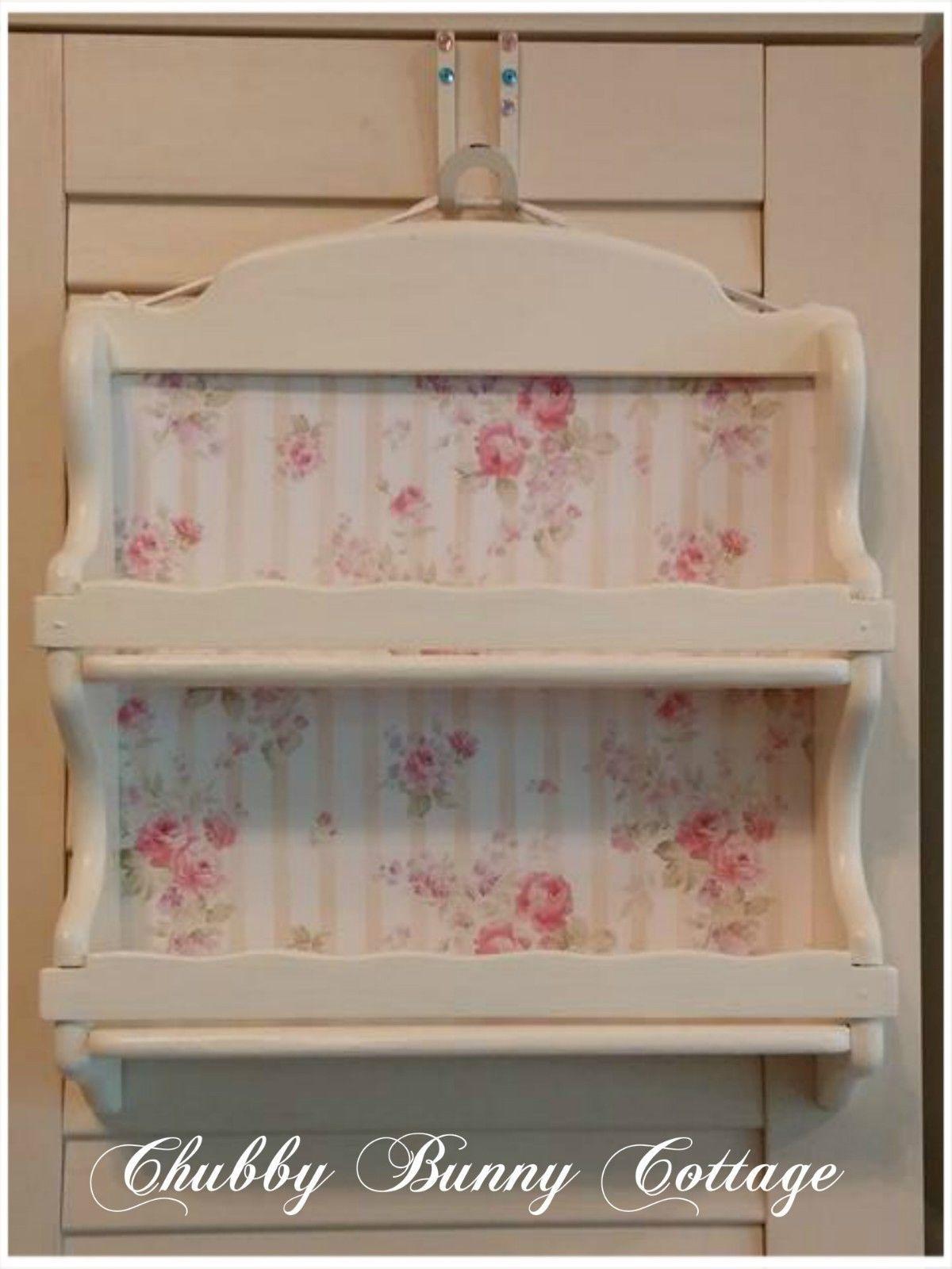 Shabby Romantic Cottage Chic Cream Shelf With Stripe Rose Backing