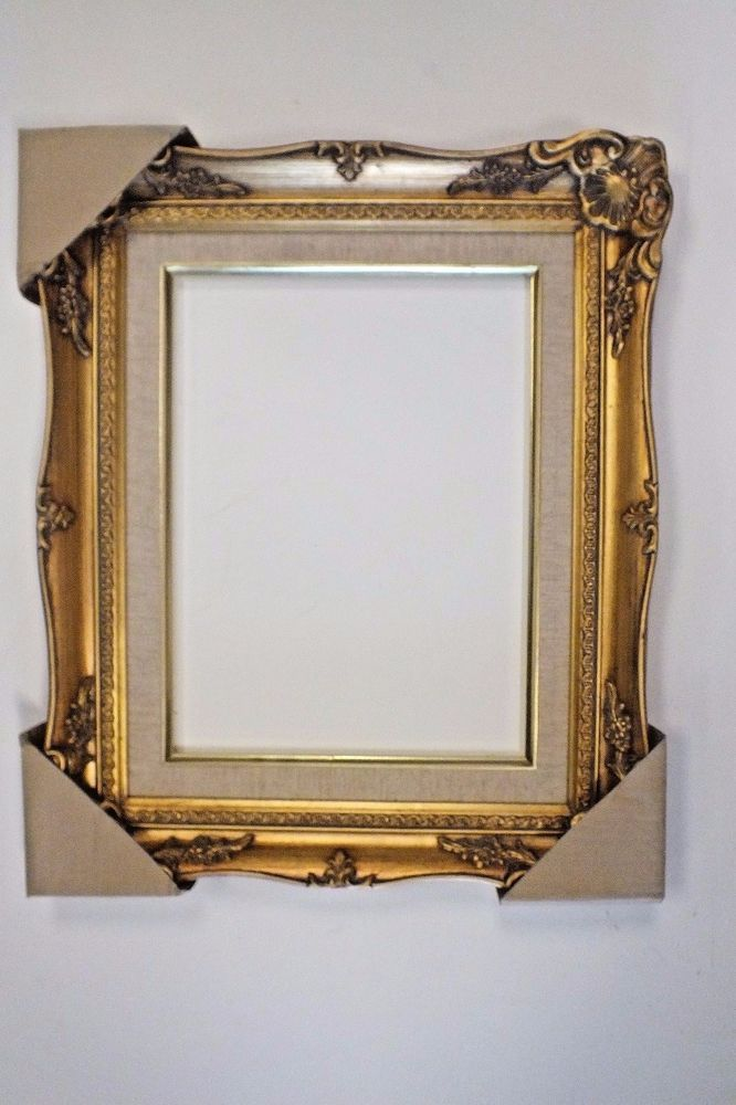 9 x 12 Gold Ornate Curvy Wood Picture Frame Linen Liner New Free ...