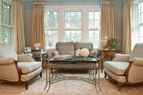 Blue Walls And Gold Drapes Window Treatments Living Room Gold Living Room Traditional Design Living Room