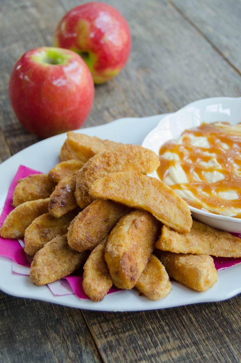 Apple Fries with Caramel Cream Dip Recipe Air fryer