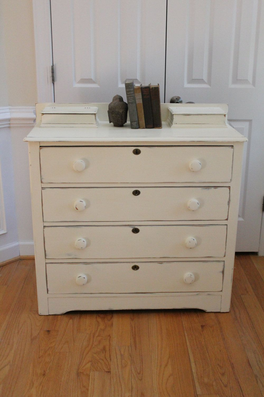 Vintage solid wood chest of drawers dresser annie sloan chalk
