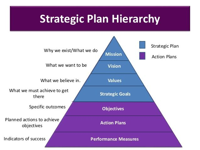 Strategic Plan Hierarchy Strategic Goals Objectives Action Plans