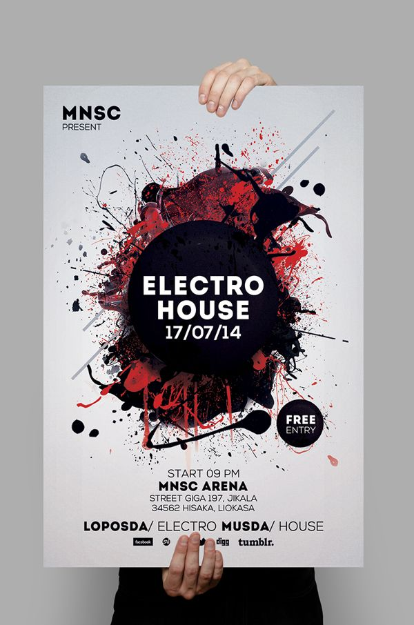 Electro House Party Flyer  Design    Psd Templates