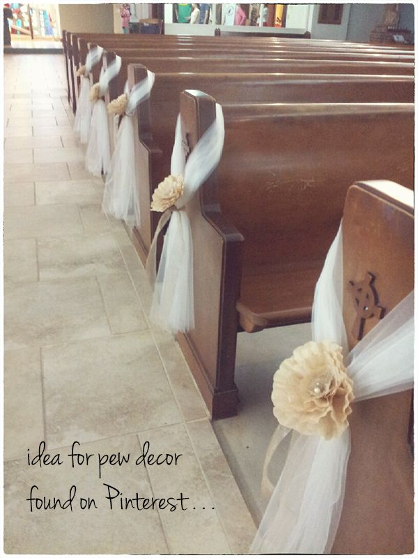 Diy pew decorations pic heavy weddingbee got to pinterest church decorations junglespirit Gallery
