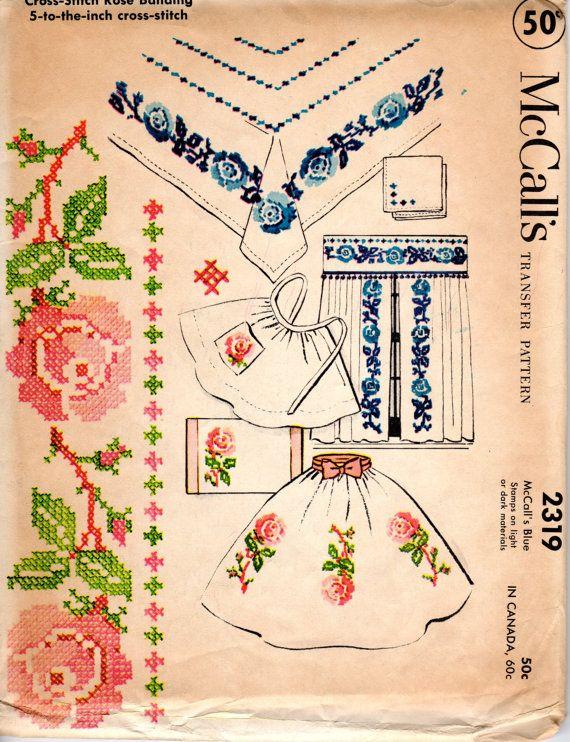 1950er Jahre Kreuzstich Transfer Muster Vintage von ErikawithaK