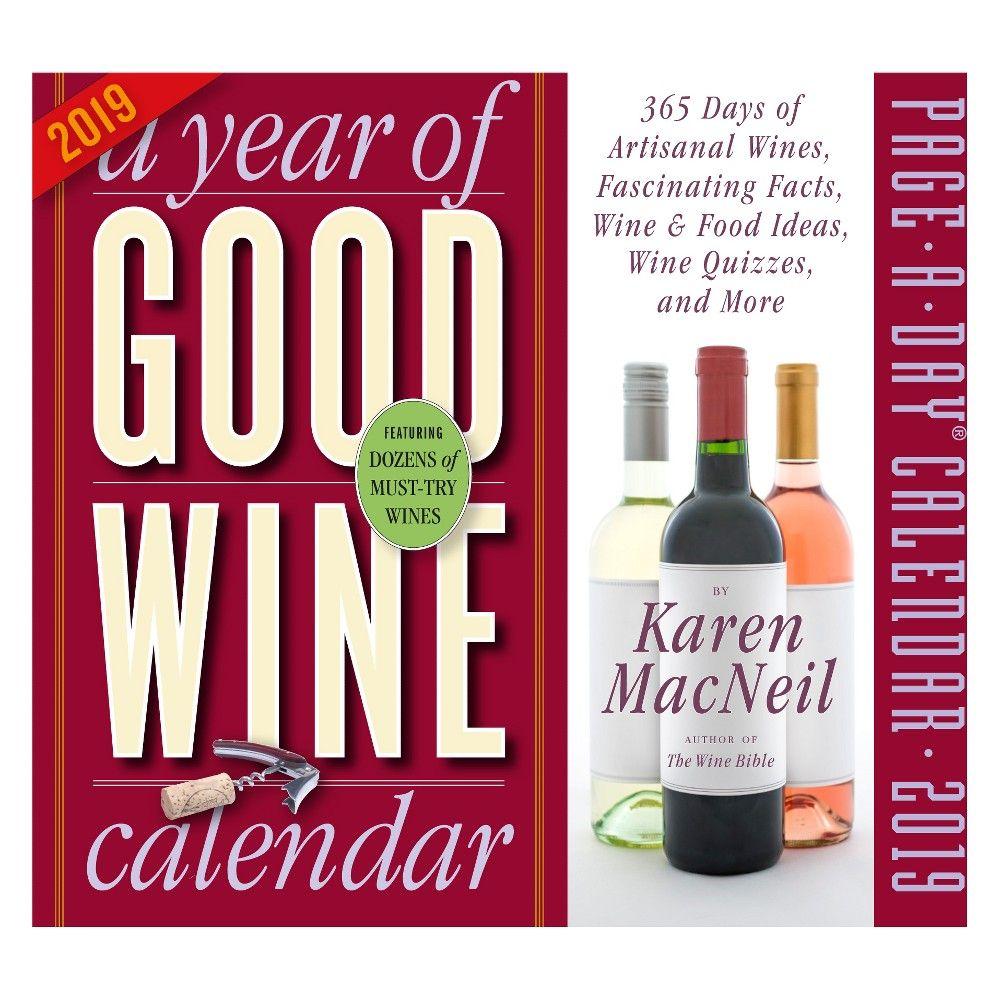 2019 A Year Of Good Wine Desktop Calendar Multi Colored Wine Preserver Wine Cooler Wine Lovers