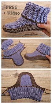 Photo of Erwachsene gerippte Hausschuhe stricken Free Knitting Pattern + Video – Knitting Pattern ,  #…