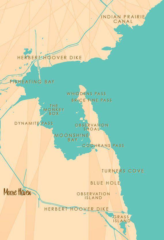 Moore Haven Florida Map.Lake Okeechobee Fl Map Print Products Map Canvas Canvas Prints