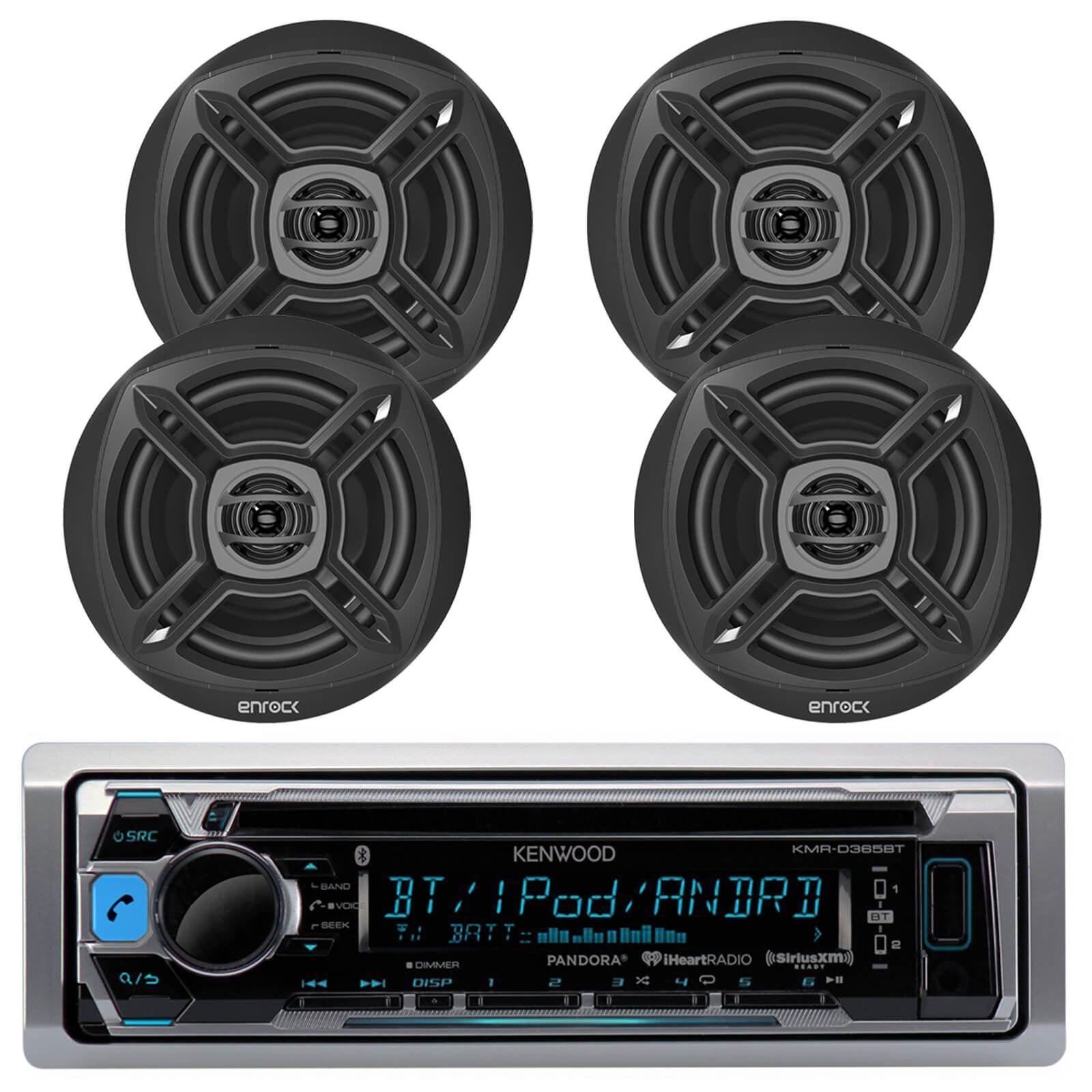 Kenwood KMR-D365BT Bluetooth Marine Radio - Black   Marine-Speakers